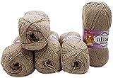 Alize Cotton gold 5 x 100g Strickwolle 55% Baumwolle, 500 Gramm Wolle einfarbig (beige 152)
