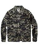 MADEN Herren Militärjacke Tarnmuster gewachst Canvas Baumwolle Militär Arbeits-Jacke Trucker Jacke...