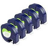 Aken kompatibel Etikettenband als Ersatz für Dymo Letratag Papier Etikettenband schwarz auf weiß...