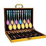 Lekoton Besteck-Set für 4, Besteckset mit Holz-Geschenkbox, Messer, Gabeln, Löffel, Teelöffel,...