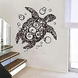 TYLPK Große Cartoon Schildkröte Wandtattoo Vinyl Dekoration Schwarz 74cmwidex81cmhigh