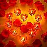 10 Stücke Herz Kerzen Romantische Liebe Kerze Rauchlos Teelichtkerze mit 200 Stück Seiden Rose...