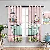 Azbza Verdunkelungsvorhänge für Wohnzimmer – rosa Badezimmer Badewanne Cartoon – 90%...