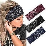 Zoestar Boho Criss Cross Stirnbänder Schwarz Yoga Head Wraps Vintage Gedruckt Haarschal Stilvolle...