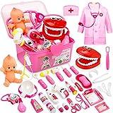 Fivejoy 43 Teile Arztkoffer Kinder, Doktorkoffer Kinder Rollenspiel Spielzeug Mit Rosa Arztkittel...