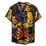 NEWISTAR Leinenhemd Herren Henley Hemd Herren Kurzarm Casual Sommer Hawaiihemd Regular Fit...