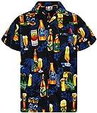 V.H.O. Funky Hawaiihemd, Kurzarm, Bierflaschen, schwarz, L