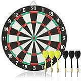 com-four® 7-teiliges Dart-Set, Klassische Dartscheibe mit 6 Steel-Darts (Metall) in 2 Farben,...