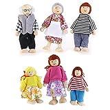 ROSENICE 6pcs Holzpuppe Spielzeug Cartoon Familie Puppen für Kinder Spiel Haus Geschenk