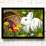 XWArtpic Schöne Haustier Wilde Kaninchen Blume Gras Niedlichen Häschen Ostern Cartoon Tier...