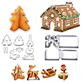 Cysincos Weihnachten Plätzchen Ausstecher, 3D Ausstechformen, 18 Stück Edelstahl Keksausstecher,...