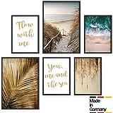 Bold Design Poster Set Strand & Meer - 4 x DIN A4 & 2 x DIN A3 - Harmonierende Bilder für...