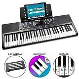 RockJam 61-Key Portable E-Keyboard Piano mit Netzteil, Notenständer und Simply Piano App