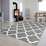Tapiso Luxury Teppich Kurzflor Modern Marokkanisch Geometrisch Kleeblatt Gitter Muster Hellgrau...