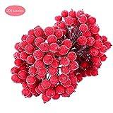 Sarplle 200 Stück Künstliche Blumen Beeren Rote Mini Künstliche Frucht Beere Weihnachten Berry...
