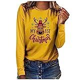 Berimaterry Pullover Damen Weihnachtspullover Beiläufige Brief Print Muster Weihnachten Pulli...