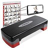 POWRX Steppbrett für zuhause inkl. Workout I Stepper höhenverstellbar und rutschfest für Aerobic,...