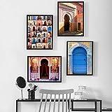 XWArtpic Moderne Kunst Wand Alte Tor Marokko Leinwand Malerei Poster Kunstwerk Bilder Gedruckt für...