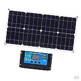 Fenteer 4 Stück 100 Watt Solarpanel Solarmodul mit 12V 10A Batterieladeregler für Wohnwagen Boat