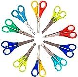 Set 10 farbige Bastelschere Schere für Kinder rund 13 cm, aus rostfreiem Stahl, für Rechtshänger...