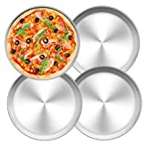 TEAMFAR Pizzablech 4er-Set, Edelstahl Rund Pizzaform Pizza Backblech zum Backen im Ofen, ∅ 26 cm,...
