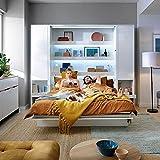 Schrankbett Bed Concept, Wandklappbett mit Lattenrost, Regale und LED-System, V-Bett, Wandbett...