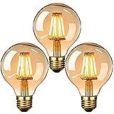 Edison Vintage Glühbirne, E27 LED Dekorative Antike Leuchtmittel Globe Birne, G80 6W warmweiß...