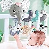 GIMOCOOL Spiral Kinderwagen Spielzeug Spiral Baby Hängendes Spielzeug Niedlicher Grauer Elefant...