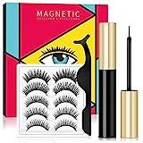Magnetische Eyeliner und Magnetische Wimpern Set, Wiederverwendbare Künstliche Wimpern 5 Magneten,...