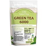 GREEN TEA 6000 - 500 Tabletten XXL Packung fr 3 Monate - Vegan - mit 6000mg Grntee Pulver je Tag /...