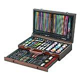 Candicely Knstlerbedarf Set 130-teiliges Zubehr zum Malen und Zeichnen Art Kit in Holzbox Enthlt...