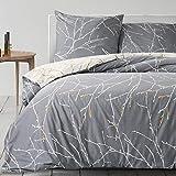 Bedsure Baumwolle Bettwäsche 155x220 cm Grau/Beige Bettbezug Set mit schickem Zweige Muster, 3...