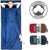 Miqio® 2in1 Baumwoll-Hüttenschlafsack mit durchgängigem Reißverschluss (Koppelbar): Leichter...