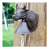 Gusseisen Türklingel Antique Cattle Türklingel Ladenbesitzer Garten Porch Ornament Shop Vintage...