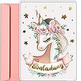 artpin® 10x Gold Einhorn EINLADUNGSKARTEN für Party und Kindergeburtstag mit rosa Umschlägen -...