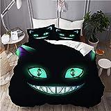 TONKSHA Bettwäsche-Set,Mikrofaser,Blue Smile Fantasy Scary Lächelndes Katzengesicht auf schwarzem...