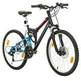 Bikesport Fahrrad MTB Mountainbike Fully Full Suspension 24 Zoll Parallax Shimano 18 Gang (Schwarz...