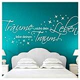 Wandora Wandtattoo Zitat Träume Nicht Dein Leben I schwarz (BxH) 150 x 58 cm I Wohnzimmer...