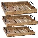 LS-LebenStil Holz Tablett Serviertablett Betttisch Betttablett Griff Mangoholz Braun XL 46x31x8cm