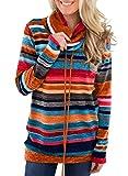 GOSOPIN Damen Sweatshirt Gestreift Rollkragen Pullover Shirt Loose Tops Langarmshirt mit Kordelzug...