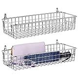 mDesign 2er-Set Wandregal aus Metall – kleiner Ablagekorb für Flur, Schlafzimmer und andere...
