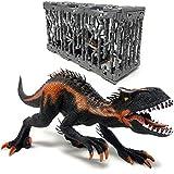 Trex Indominus Rex Dinosaurier im Käfig - Riesiger Dino mit beweglichem Mund | XXL Jurassic...