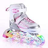 Kuxuan Saya Girls Pink Verstellbare Inline-Skates mit Leuchtenden Rädern - Klein (28-31 EU)