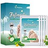 MayBeau Fußmaske 4 Paar Hornhaut Socken zu Entfernung Exfoliating Fußpflege Set mit Gurke Duft...