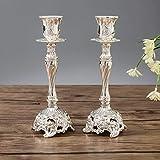 Sziqiqi 2er Set Kerzenständer Kerzenhalter Kerzenleuchter in Silber für schabbat Kerzen, Metall...