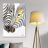 Geiqianjiumai Aquarell Schwarzweiss-Zebra Tier skandinavischen Minimalismus Kunst Wandbild Leinwand...