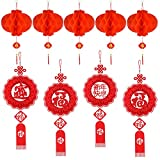 FEPITO 14 PC Chinese New Year Dekoration Set hängende Verzierung mit chinesischen Knoten-Anhängern...