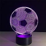 Kinder 3D Nachtlicht Weihnachtsgeschenk Fußball Kinder Nachttischlampen Fernbedienung/Touch 7...