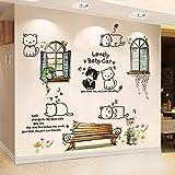 Niedliche Aufkleber Wandpaare Malen Starke Papierwandaufkleber-Nette Katze + Gefälschte Fensterbank...