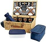 HappyPicnic Deluxe Weiden Picknickkorb mit Decke und Besteck für 4 Personen, Picknickkoffer mit...